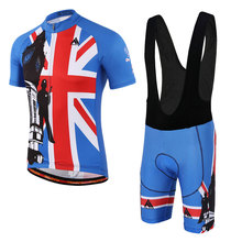 Men MTB Cycling Clothing bike Jersey Top or Bike Bib Shorts Male Blue red Sports Pro team ropa Bicycle wear(China)