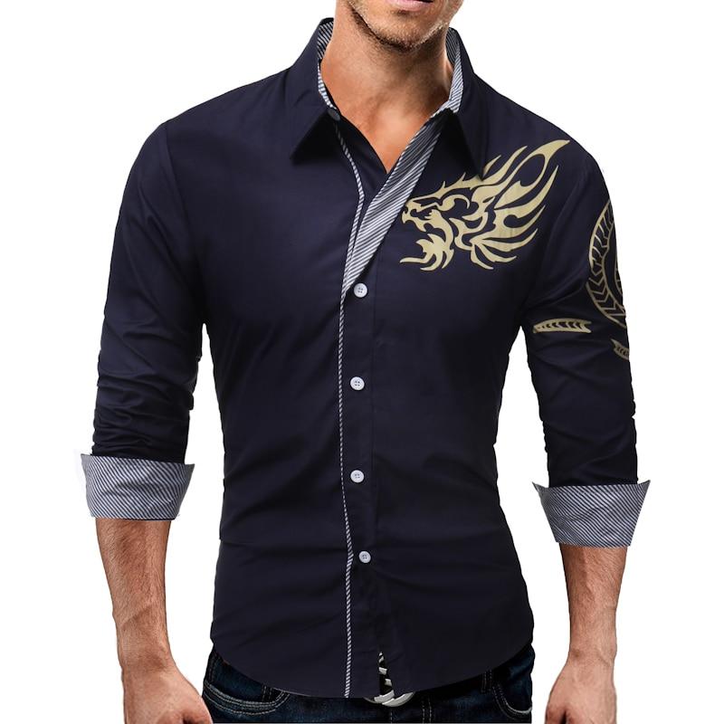 Vska Mens Britain Lapel Long-Sleeve Classic Zipper Dress Shirts