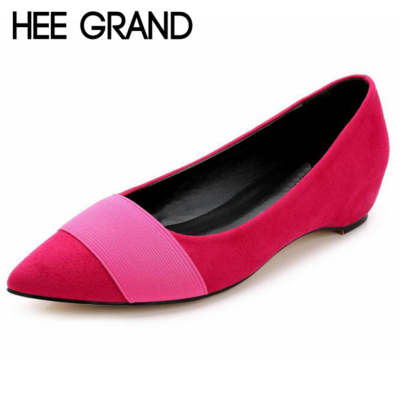 HEE GRAND Fashion Patchwork Women Flats Increasing Low Heel Pointed Toe Shoes For Woman Plus Size 35-43 WXG347<br><br>Aliexpress