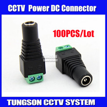 100pcs/lot Female DC Connector 5.5/2.1mm CCTV UTP DC Power Plug Adapter Cable DC/AC 2/Camera Video Balun Free shipping !!