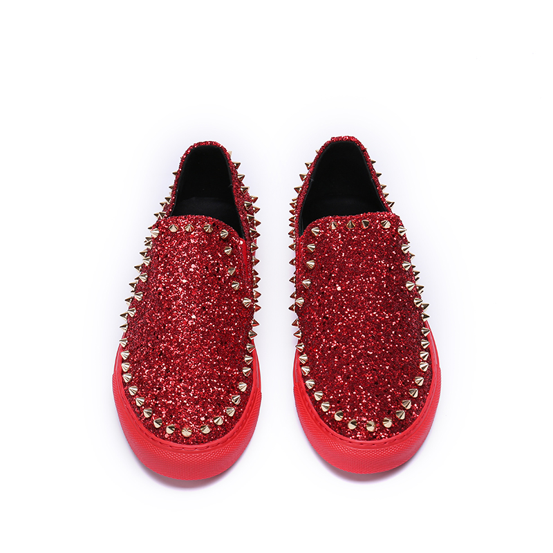 Rivet Luxury Brand Red Mens Loafers