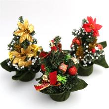 Mini Artifical Christmas Tree Set with Ornaments Children Gift Toddler Door Wall Hanging Preschool Craft Xmas Decoration