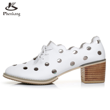 Genuine leather big woman shoes US size 9.5 designer vintage High heels round toe handmade white pumps 2017 sping oxford shoes