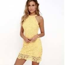 Buy 2018 Summer Spring Elegant Wedding Party Sexy Club Lace Dress Women Plus Size Dresses Yellow Lady Bodycon Halter Short Dress