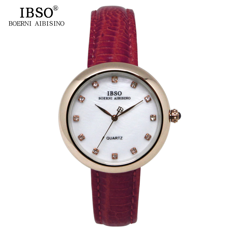 IBSO Top Brand Women Watches 2017 Shell dial Genuine Leather Band Watch Women Casual Fashion Quartz Wristwatches Montre Femme<br><br>Aliexpress