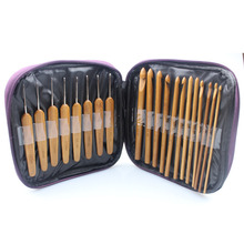 2016 New 2 in 1 2.0mm-10mm 20Pcs Bamboo Crochet Hooks Knitting Weave Needles tool Set with Case bag Embroidery(China)