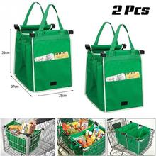 2pcs As Seen On TV Grocery Grab Shopping Bag Foldable Tote Eco-friendly Reusable Large Trolley Supermarket Large Capacity Bags(China)