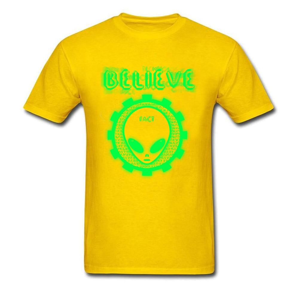 Printing Believe Alien Fact O-Neck T Shirts Thanksgiving Day Tops Shirt Short Sleeve for Men Hip Hop 100% Cotton T-Shirt Believe Alien Fact yellow
