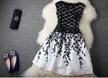 2016 HOT Selling dress women causal sleeveless black white lace chiffon dress girls fashion autumn nice dinner club dress #E218