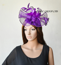 NEW Purple Big Sinamay  fascinator hat  for melbourne cup,ascot races, kentucky derby wedding.