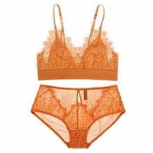 France New Lace Bra Set Floral Thin Cup Bralette Sexy Girls Small Bra Lingerie Underwear Set Orange Black Victoria Bras(China)