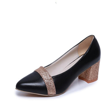2017 New fashion hot sales women's shoes paillette thick 5.5CM high heel leather gold silver 34--41 yards sequins single shoes(China)