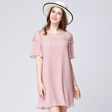 2017 designer women pink pleated summer dresses plus size dot lace patchwork butterfly sleeves women fashion summer dress pink(Hong Kong)