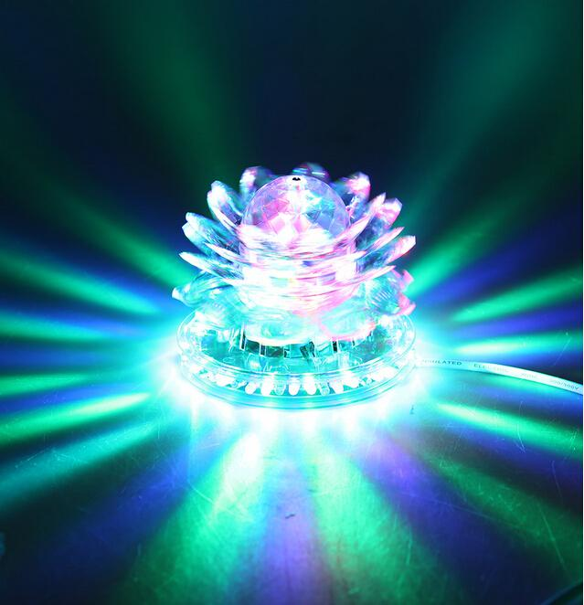 Lotus Effect Light Auto Rotating 11W 51 LED RGB Crystal Stage Light Voice-activated for Home Decoration DJ Disco Bar Best Gift<br><br>Aliexpress