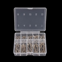 100Pcs 1 Box Steel Carp Fishing Jig Hooks with Hole Fishhooks 10 Sizes 3# - 12# Pesca Fishing Tackle Tool(China)
