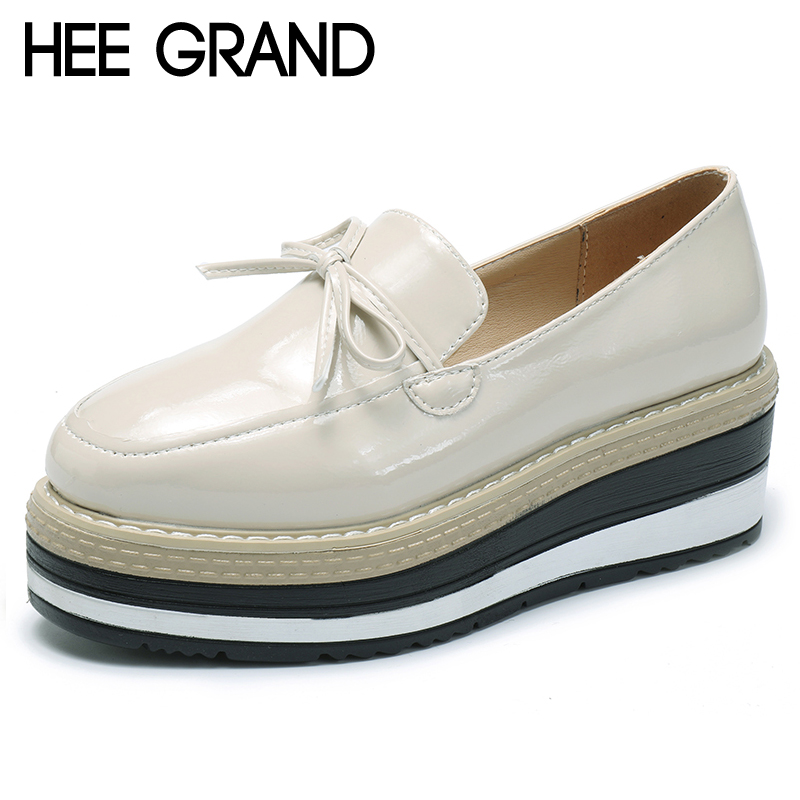HEE GRAND Bowtie Brogue Shoes Slip Platform Oxfords Shoes Woman Casual PU Patent Leather Creepers Fashion Women Flats XWD6895