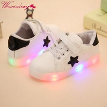 Buy 2017 New Kids Colorful Flashing LED Light Girls Casual Shoes Stars Boys Shoes LED Child Sneakers Start Parttern Kids for $6.03 in AliExpress store