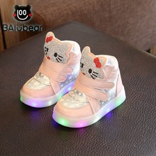 Kids Girls Shoes 2017 Spring Autumn Winter Children's Sneakers Boy Shoes Chaussure Enfant Hello Kitty Baby Shoes With LED Light(China)