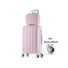 Wholesale!14 20inches abs+pc hardside strip trollely luggage bags on universal wheels,fashion mother and son travel luggage sets