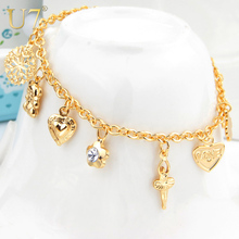U7 Heart Cross Charm Bracelets For Women Gift Fashion Jewelry Trendy Gold Color Rhinestone Link Chain Bracelet H513(China)