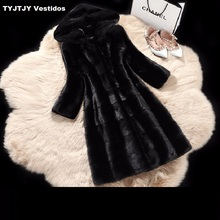 2017 new long mink coat sales women faux fur hooded fox long black plus size large artificial fur coat 4xl Artificial fur coat