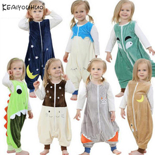 Flannel Warm Sleeping Children Overalls Prevent Kick Halloween Baby Blanket Sleepers Animal Feet Pajamas Christmas Kids Rompers(China)
