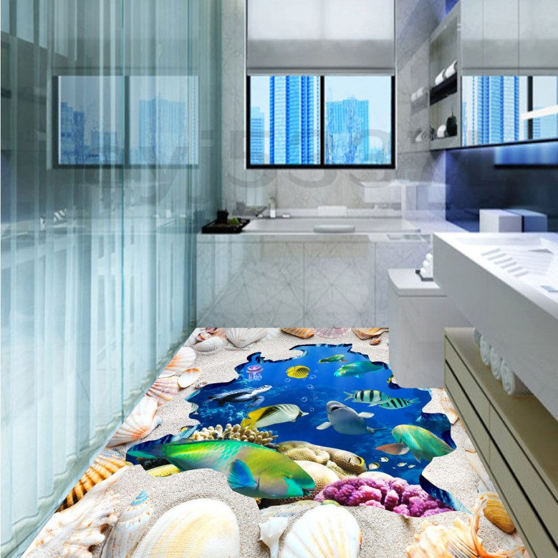 Free Shipping Sand Sea World Fish flooring wallpaper 3D bathroom bedroom kitchen office floor mural<br>