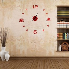 Coffee Tea Cup 3D Wall Clock Quartz Battery Room Home Kitchen Cafe Decoration red(China)