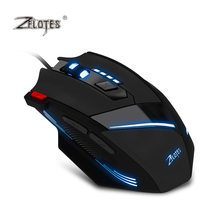 TK Brand Zelotes T60 7200DPI Wired Gaming Mouse Optical Adjustable USB Computer LED Mice for PC Laptop Gamer Games 2016 New