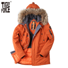 TIGER FORCE 2017 Padded Parka Men Polyester Coat Winter Jacket Mens Fashion Thick Parkas Artificial Fur Collar Free Shipping