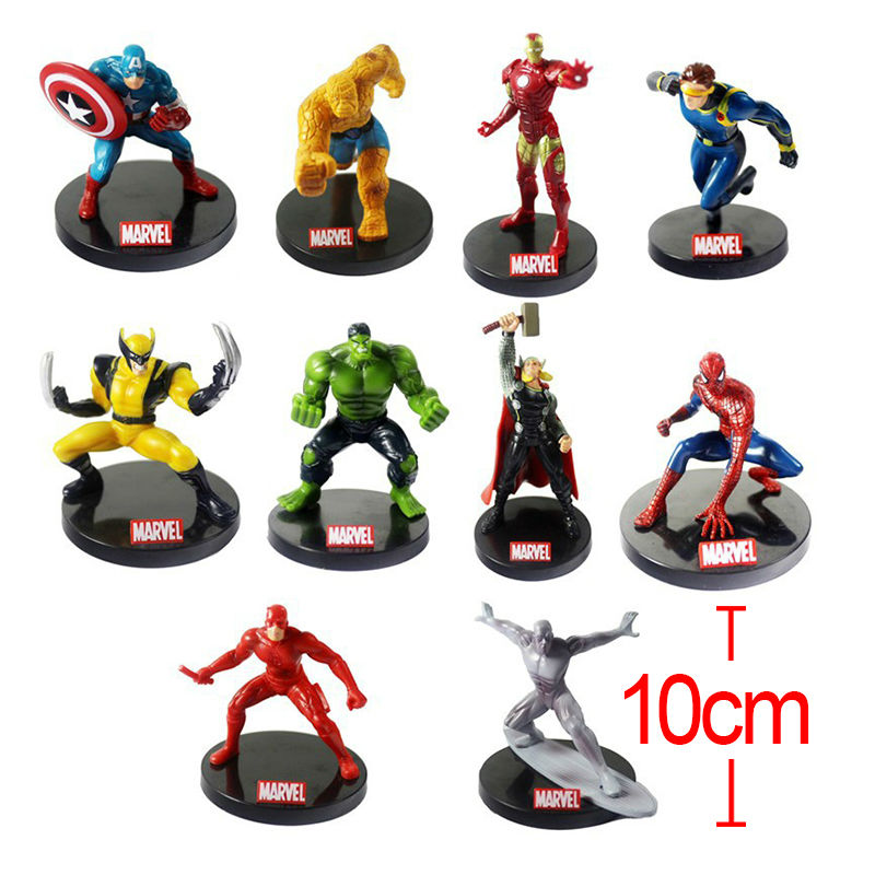Anime Marvel Superhero The Avengers Justice League Iron Man Captain America Thor Hulk Wolverine PVC action figure toy Brinquedos<br>