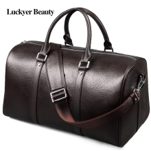 LUCKYER BEAUTY Genuine Leather Travel Bag for Men Large Capacity Shoulder Bag Male Fashion Luggage Bag High Quality Weekend Bag