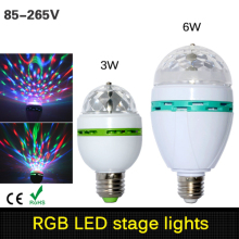 3w 6w E27 RGB Led Lamp Light Auto Rotating RGB Led Bulb Magic Stage Light 85-265V 110V 220V Disco DJ Party Holiday Dance Bulb
