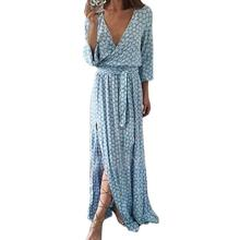 Women Long Sleeve Deep V Neck Sexy Printed Long Maxi Dress With Belt off-shoulder chiffon dot wrap High quality desigual