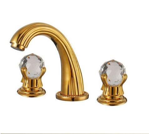 Free-Shipping-Wash-Basin-Mixer-luxury-high-quality-brass-gold-plating-crystal-handle-widespread-basin-faucet