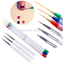 Set 6Pcs/Pack Fine Drawing Striping Liner Design Tips Nail Art Pen Brushes Brush Salon DIY Gel UV Tool Manicure(China)