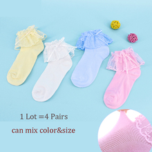 Autumn Pink White Toddler Children Girls Socks Lace Ruffles Princess Dance Ankle Socks(China)