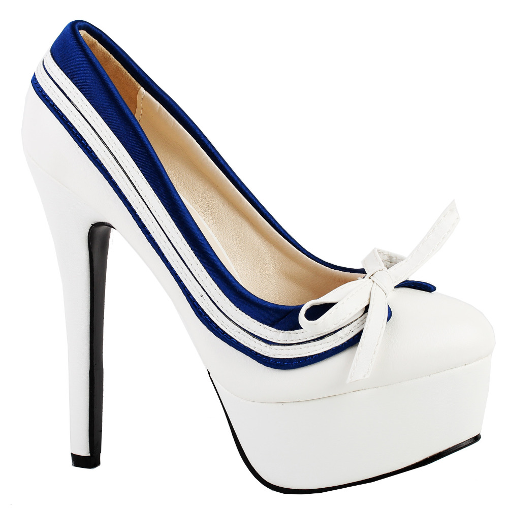 LF80851 Retro White Blue Bow Navy Style Platform Stiletto Heel Pumps Size 4/5/6/7/8/9/10 <br>