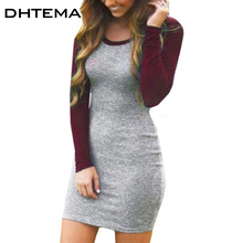 DHTEMA Europe and the United States with autumn and winter hot ebay speed sexy long-sleeved round collar dress