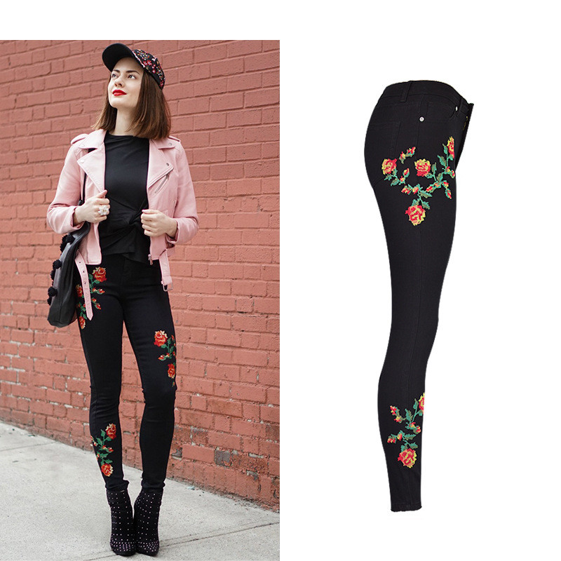 Hot Sexy High Waist Denim Stretchy Black Jeans Embroidery Rose Fashion Skinny Full Length Bodycon Tight Women Pencil Jeans Femme (7)