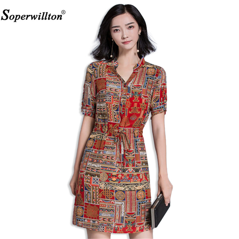 Soperwillton 2017 New Arrival Hot Sale Elegant Dresses For Woman Summer Style Ladies Floral Print A Line Dress Casual Boho A951(China (Mainland))