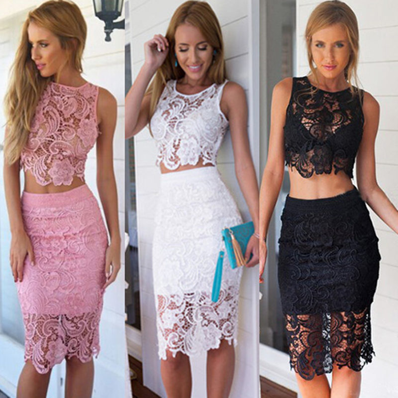 2017 Summer Women Lace Set Suit Sexy Club Party Outfit Sleeveless 0 Neck Crop Tops and Skirt Hollow Out Female Two Piece Suits(China (Mainland))