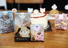 50&100pcs/lot Cute Cat and Dog Cookie Bag Bread bag Gift Candy Package Snack Bag Jewelry bags Send children the Baking Gift