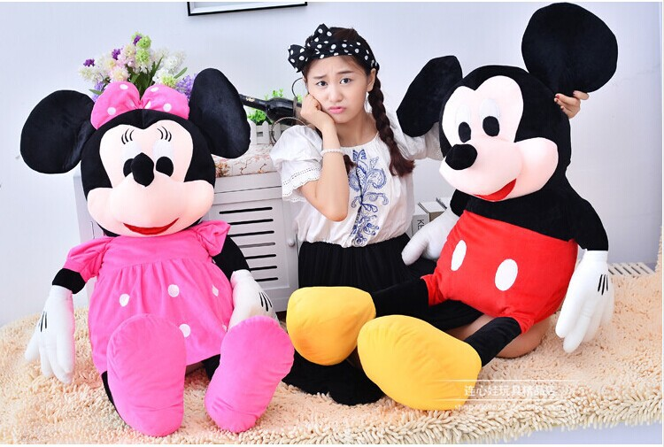 a pair of huge plush toy mickey mouse toys doll large birthday gift  the boy mickey and pink coat girl minny dolls about 130cm<br><br>Aliexpress