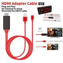 20pcs 2M USB 8 Pin to HDMI HDTV AV Cable Adapter for iPhone 7 7 Plus 6S 6 Plus 5S 5 Charging Adapter Cable T0.11(China)