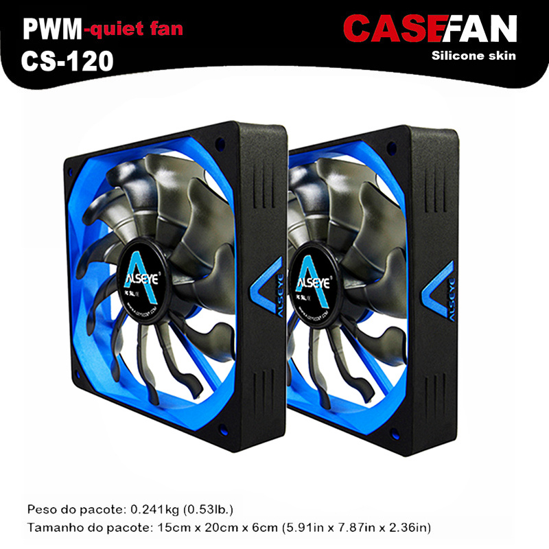 ALSEYE 120mm Cooler (2pieces) PWM 4pin Fan for Computer Case / CPU Cooler / Water Cooling 12V 500-2000RPM Silent Fan(China (Mainland))