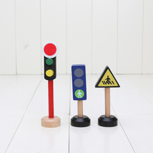 3.3*3.3*13.5cm 3pcs Traffic Signs Wooden Train Tracks Set Educational Blocks Toys Railway Accessories bloques de construccion