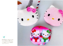 Kawaii 20 Designs , Sweet Multi Sizes ,  8-11cm Hello Kitty Gift Cotton Plush Pocket Coin BAG Purse Wallet Pouch