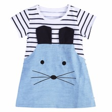 New 2017 Summer Striped Dresses Girl Short Sleeve Lovely Mouse Design Denim Dress Children Clothing Kids Clothes(China)