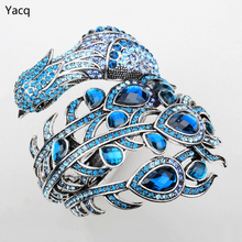 YACQ Peacock Bracelet for Women Crystal Bangle Cuff Punk Rock Jewelry Gifts for Girlfriend Wife Her A29 Wholesale Dropshipping(China)